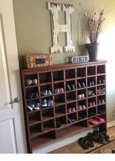 Build a Vintage Mail Sorter Shoe Cubby how to build a vintage style mail sorter to organize shoes Remodelaholic Shoe Storage Design, Diy Shoe Storage, Diy Shoe Shelf, Coat And Shoe Storage, Paint Storage, Shoe Storage Cabinet, Closet Shelves, Craft Storage, Storage Cabinets