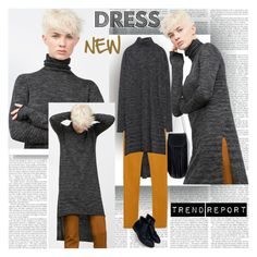 """""""New Dress"""" by stylepersonal ❤ liked on Polyvore featuring Zara and longsleevedress"""