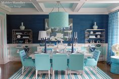 OMG *swoon*... I love this dining room - turquoise, navy blue, pattern and nautical!!