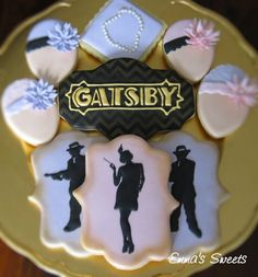 Great Gatsby themed inspired cookies @KennyandLaura Clark  I like the headpiece ones!