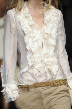 Ruffled  white shirt by Ermanno Scervino.