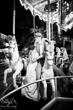 Wedding couple on Merry go round
