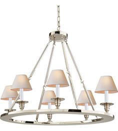 a little glamour    Visual Comfort Chart House Round Flat Line Chandelier in Polished Nickel CHC1443PN | Visual Comfort Lighting Lights | Visual Comfort | Visual Comfort Lighting | Alexa Hampton | Visual Comfort Sconces | Lighting New York | Lighting Fixtures