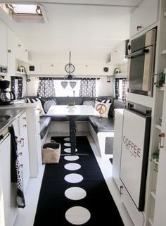 copper, white, black, patterned wallpaper, mobile home renovation - Vanlife & Caravan Renovation Retro Campers, Cool Campers, Rv Campers, Vintage Campers, Camper Van, Vintage Rv, Happy Campers, Camper Life, Camper Fridge