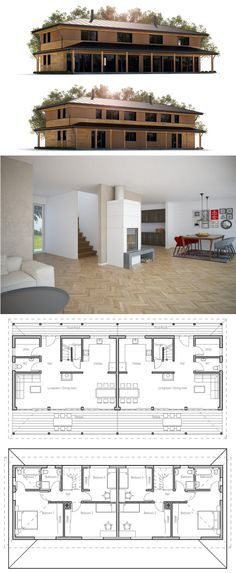 Duplex House Plan ~ Could call it The Twinner ~ Make the dinning interior wall movable so could have a large entertainment area (for related families).