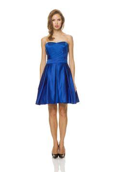 Strapless Knee Length Blue A Line Bridesmaid Dress