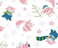 Camelot Fabric Winter Wonderland Pink Foxes on White Cotton Quilting Fabric, Cotton Quilts, Fabric Canada, Pink Fox, Art Gallery Fabrics, Love Sewing, Modern Fabric, Fabric Online, Decoration