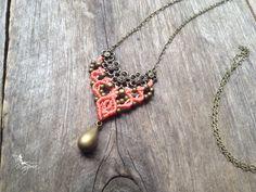 Micro macrame necklace in salmon elven par creationsmariposa, $27.00
