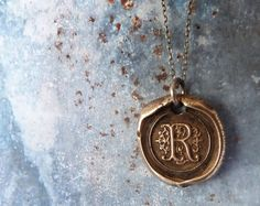 Wax Seal Monogram Initial Letter Necklace