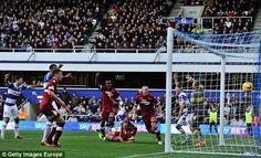 CHAMPIONSHIP: QPR v Derby, Clint Hill scores the winner in a 2-1 QPR win.