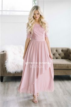 ced1402c8cd5a Mauve Lace Ruffle Modest Bridesmaids Dresses | Cute Modest Clothes | Modest  Bridesmaids Dresses with Sleeves