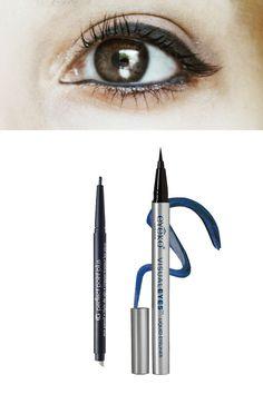 Brown Eyes = Navy Liner CoverGirl Perfect Point Plus Eyeliner in Midnight Blue ($5.69) or Eyeko Visual Eyes Liquid Eyeliner in Marine ($19).