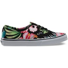 Vans Hawaiian Floral Authentic ($60) ❤ liked on Polyvore featuring shoes, sneakers, vans, black, multi, floral shoes, black trainers, vans sneakers, black lace up shoes and black sneakers