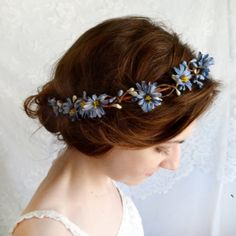 blue flower hair circlet, blue head wreath - CHICORY - wildflower wedding hair piece, royal blue wedding