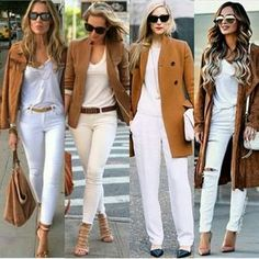 New Sport Style Chic Pants Ideas Casual Work Outfits, Mode Outfits, Classy Outfits, Chic Outfits, Spring Outfits, Fashion Outfits, Casual Jeans, White Pants Outfit, Blazer Outfits