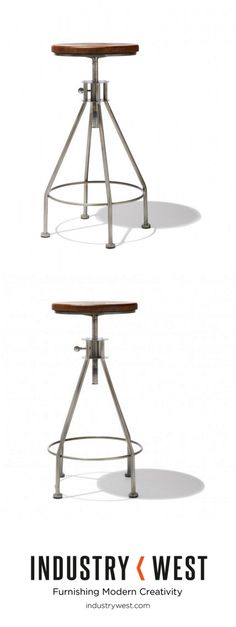 The Task Bar Stool refines industrial style and uses the simplistic negative space to bring in a light airiness. Features a locking mechanism to secure the seat at your desired height. This stool is handcrafted of antique willow and heavy sheet steel.