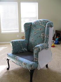 Modest Maven: Vintage Blossom Wingback Chair Reupholster an old chair. Chair Reupholstery, Reupholster Furniture, Furniture Repair, Upholstered Furniture, Furniture Makeover, Diy Furniture, Wingback Chairs, Swivel Chair, Chair Cushions