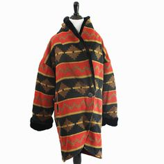 oversized southwest print overcoat