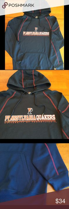 "U. Of Penn Quakers Lightweight Athletic M Hoodie UNISEX University of Pennsylvania Size Medium Navy Blue & Red Lightweight Athletic with thin fleece inner lining. ""P"", ""PENNSYLVANIA QUAKERS"" & "" UNIVERSITY OF PENNSYLVANIA "" Screen-printed on the front of the chest. NWOT. Bundle & Save On Shipping. J America Shirts Sweatshirts & Hoodies"