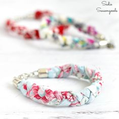 Vintage handkerchiefs are easy to upcycle into boho bracelets or vintage inspired jewelry with this easy tutorial, especially if they're damaged or flawed! Fabric Bracelets, Fabric Jewelry, Boho Jewelry, Vintage Jewelry, Handmade Jewelry, Leather Bracelets, Country Jewelry, Cowgirl Jewelry, Paper Jewelry