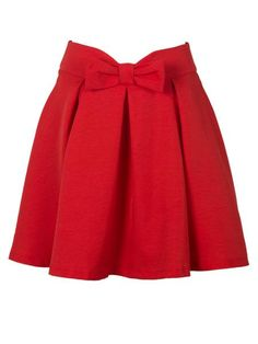 Red Bowknot Waist Pleat Detail Skater Skirt - MYNYstyle - 1