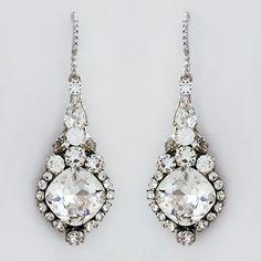 Haute Bride jewelry & earrings. Designer crystal drop bridal earrings. Drop style, cushion stone, crystal. Love for weddings & formal affairs. https://perfectdetails.com/EC243-clr.htm