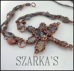 Copper Kaos Dragonfly wire wrapped in copper. www.szarkas.com Handmade wire wrapped artisan jewelry.
