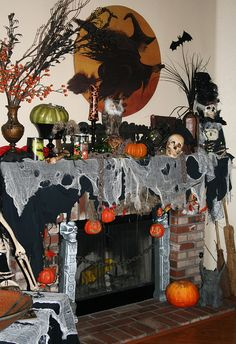 WOW! AMAZING Halloween Fireplace Mantel!
