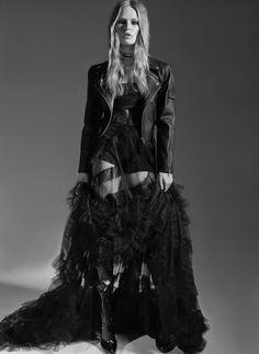 Anna Ewers models Dior dress, choker and briefs with H&M biker jacket. Boots by Christian Louboutin.