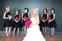black bridesmaid dresses with fuchsia bouquets -- just need some purple & lime green in the bouquets!