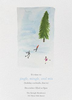 Skating by Virginia Johnson for Paperless Post. Send custom online holiday party invitations with our easy-to-use design tools and RSVP tracking. View more holiday invitations on paperlesspost.com.  #ice_skating #pine_tree #tree #winter #happy_holidays