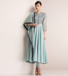 Ice Blue Chanderi Silk Anarkali with Leather Sequins