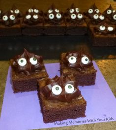 Monster Halloween Brownies - so cute!