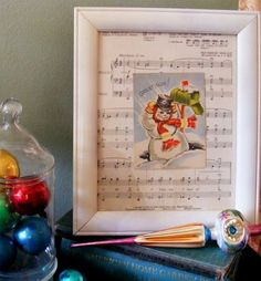 jerusalem greer - Framed Vintage Snowman card