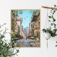 Tropical City Printable Australia Digital Download Travel   Etsy Printing Services, Online Printing, Travel Wall Art, International Paper Sizes, Art File, Surreal Art, Printable Wall Art, Altered Art, Collage Art