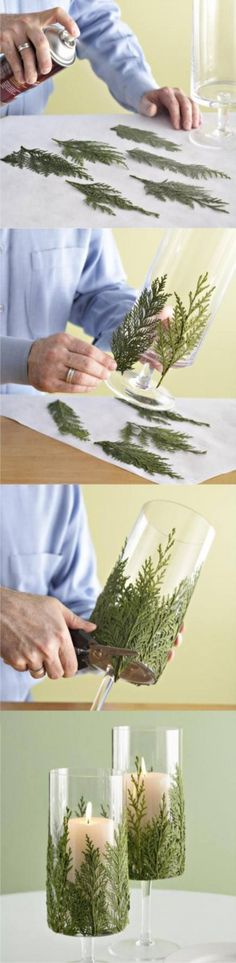 Great DIY craft for the holidays. Use nature products to decorate household items. dekoration basteln This DIY Evergreen Candle Will Make Your Holidays Even Brighter Noel Christmas, Xmas, Christmas Leaves, Christmas Candles, Fall Leaves, Christmas Photos, Christmas Stuff, Christmas Ideas, Christmas Ornaments