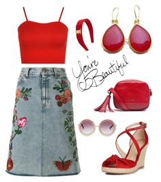 """""""Red Casual - Evangelos Earrings"""" by evanangel on Polyvore featuring Gucci, L.K.Bennett, WearAll, Geox and Salvatore Ferragamo"""