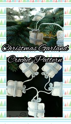 Christmas Present Ornaments Garland Crochet Pattern Pdf Christmas Crochet Patterns, Handmade Items, Handmade Gifts, Christmas Presents, Garland, Crochet Earrings, Crochet Hats, Pdf, Ornaments