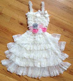 Rustic Tutu Dress - Ivory, Pink, Gray #rustictutudress #lacetutudress