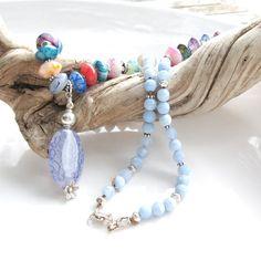 Blue Agate Floral Necklace  Chunky Long by PETALTOMETALJEWELS, $65.00 #agate boho necklace