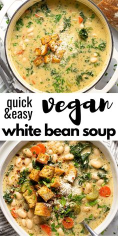 25 minutes · Vegetarian · Serves 8 · This creamy vegan white bean and kale soup comes together in less than 30 minutes. It& the perfect quick and easy dinner when you& looking for something hearty and healthy! Vegan Dinner Recipes, Veggie Recipes, Whole Food Recipes, Vegetarian Recipes, Cooking Recipes, Healthy Recipes, Kale Soup Recipes, Health Soup Recipes, Recipes With Kale Vegan