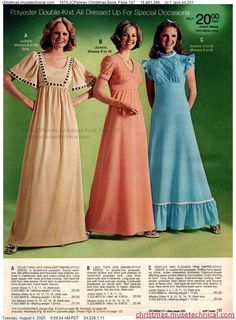 70s Fashion, Fashion History, Teen Fashion, Fashion Models, Fashion Beauty, Vintage Fashion, 1970s Fancy Dress, Fancy Gowns, Evolution Of Fashion