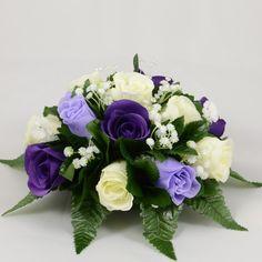 Purple, Lilac & Ivory Rose Wedding Table Centre Decoration Arrangement