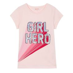 From the bluezoo range, this t-shirt is a great choice for adding sparkle to a girl's daytime wardrobe. Designed with a touch of soft cotton, it features sequin embellishment with the slogan 'Girl Hero'. Aw18 Fashion, Fashion Moda, Kids Fashion, Fashion Fabric, Slogan Design, Girl Empowerment, Girls Tees, Kids Wear, Pink Girl