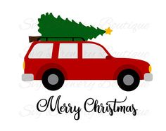 Christmas tree on car Merry christmas car SVG layered
