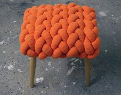 Cork native Claire Anne O'Brien is a gifted knitter with a keen eye for its application on furniture. The Central Saint Martin's textiles graduate is best known for her knitted stools, and her new range was launched at this year's London Design Festival. Technical Textiles, Burlap Bunting, Irish Design, London Design Festival, Wood Stool, Interior Exterior, Knitted Blankets, Graphic Design Inspiration, Designer