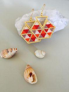 Camp Tutorial and Ideas Seed Bead Jewelry, Bead Jewellery, Seed Bead Earrings, Diy Earrings, Diy Jewelry, Beaded Jewelry, Handmade Jewelry, Miyuki Beads, Diy Schmuck