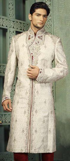 Grey Jacquard Sherwani with Churidar Online Shopping: MWD50