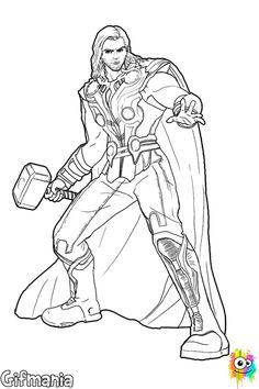 Dibujo de Thor para Colorear http://www.dibujosparacolorearmania.com/Dibujos-Thor/Dibujo-thor.htm #Thor #ThorMundoOscuro #ChrisHemsworth #dibujosparacolorear #dibujo