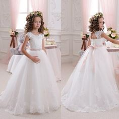 Beautiful Lace Backless Flower Girls Dresses For Weddings Scoop Sleeveless First Communion Dress Floor Length Princess Gowns With Sash Flower Girl Dresses For Kids Flower Girl Dresses For Sale From Newdeve, $66.91| Dhgate.Com